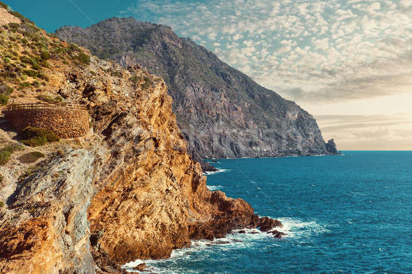 View to the rocky coastline and part of Battery of Cabo Negrete Stock photo © amok