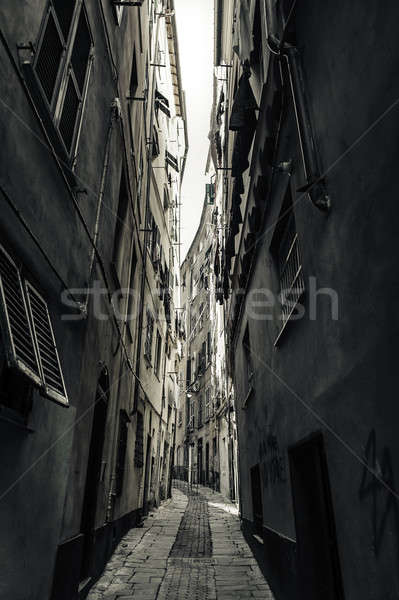 Narrow street in old town of Genova,port city in northern Italy Stock photo © amok