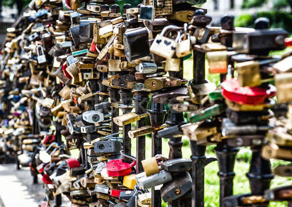 Different shapes, sizes and colors of love padlocks affixed to a bridge Stock photo © amok