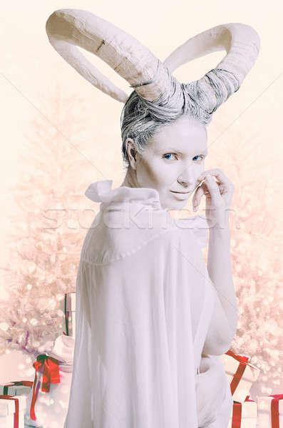 Mulher cabra chinês horóscopo 2015 ano Foto stock © amok