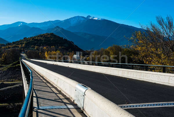 Bridge in the French Pyrenees and picturesque mountain range Stock photo © amok