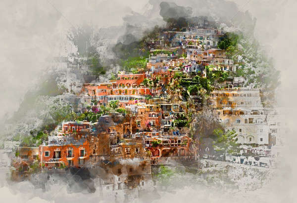 Digital watercolor painting of Positano. Italy Stock photo © amok