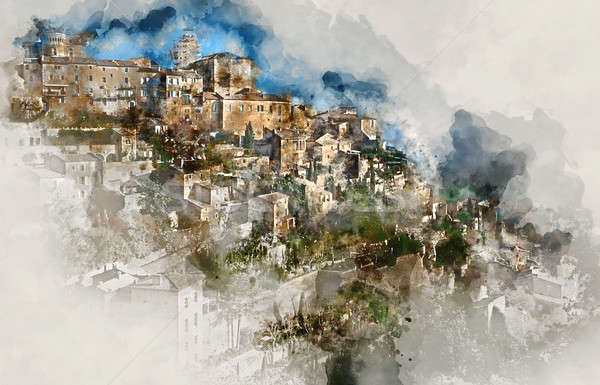 Digital watercolor painting of Gordes, is a very beautiful hilltop village in France. Provence-Alpes Stock photo © amok