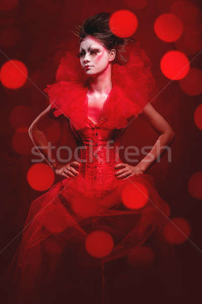 Rouge reine femme Creative maquillage pelucheux Photo stock © amok