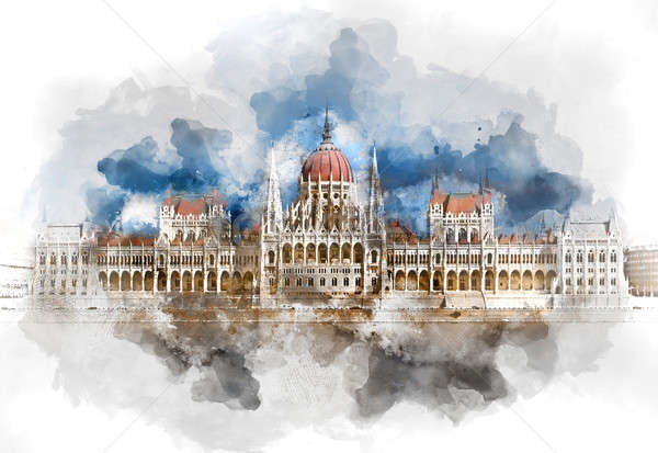 Digital watercolor painting of a Hungarian Parliament Building. Budapest Hungary. Stock photo © amok