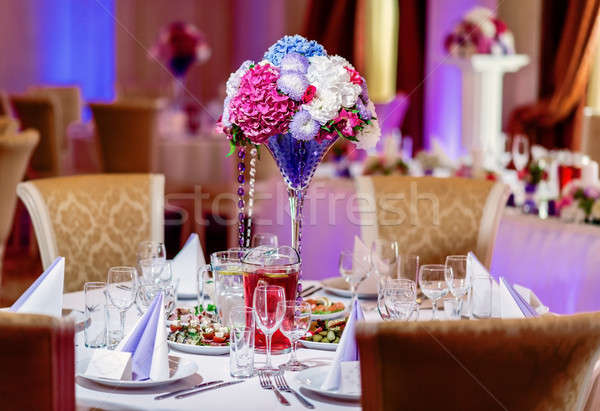Luxe banquet table restaurant fleur beauté Photo stock © amok