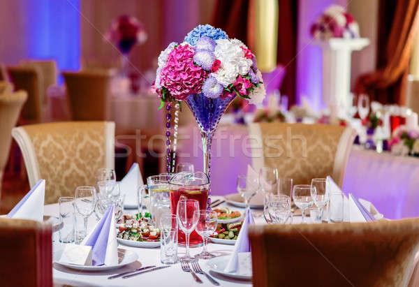 Luxe banket tabel restaurant bloem schoonheid Stockfoto © amok
