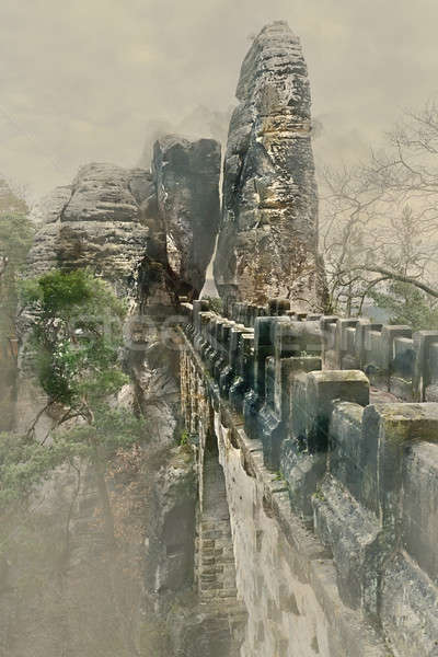 Digital watercolor painting of an old Bastei Bridge. Major landmark of the Saxon Switzerland Nationa Stock photo © amok