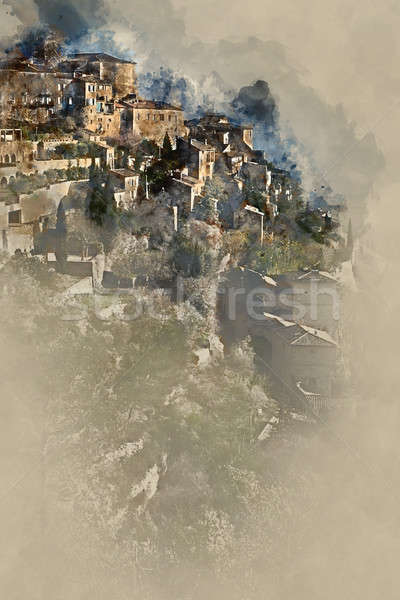 Digital watercolor painting of Gordes village. France Stock photo © amok