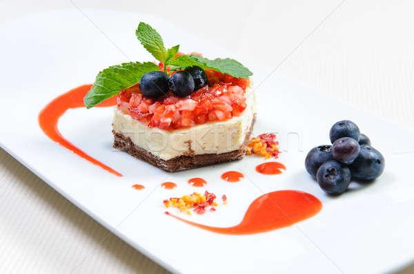 Luscious berry dessert on a plate Stock photo © amok