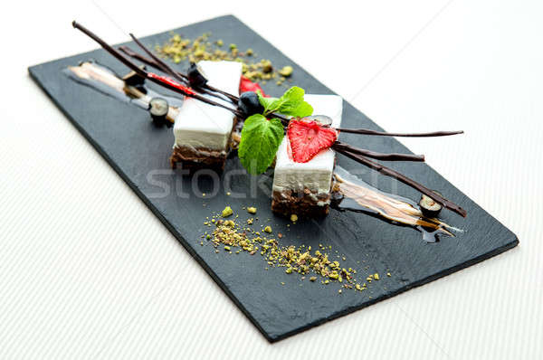 Delicious chocolate mousse dessert on a white plate Stock photo © amok