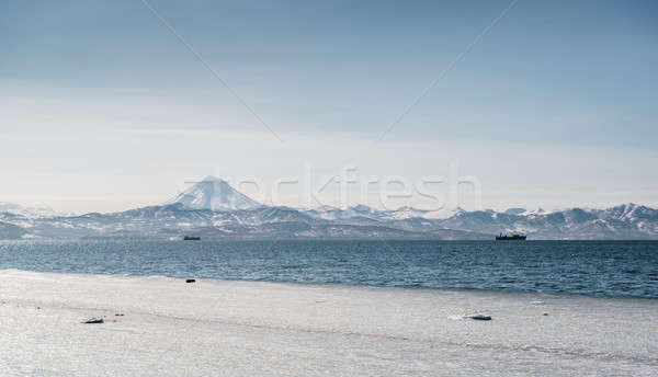 Stock photo: Beautiful landscape of Vilyuchinsky volcano and Avacha bay