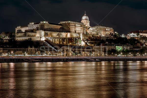 Royal Palace or Buda Castle at night. Budapest, Hungary Stock photo © amok