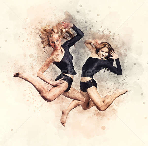 Two athletic girls jumping. Stock photo © amok
