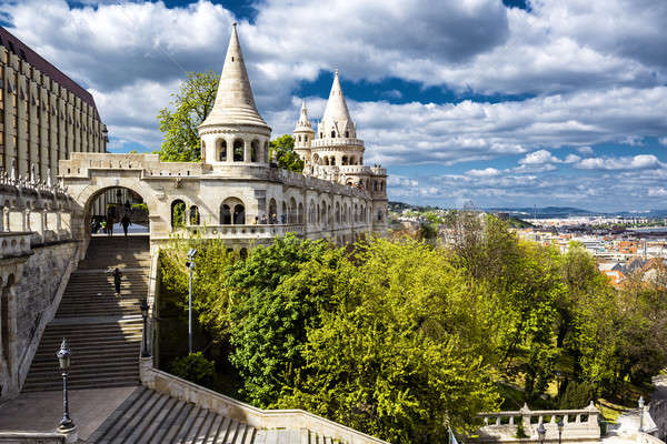 Bástya Budapest város Magyarország égbolt felhők Stock fotó © amok