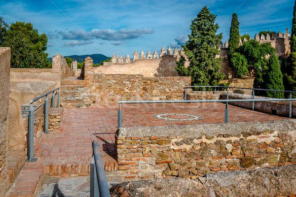 Erőd Malaga város Spanyolország belső tégla Stock fotó © amok