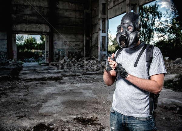 Adam gaz maskesi maske endüstriyel kişi hava Stok fotoğraf © amok