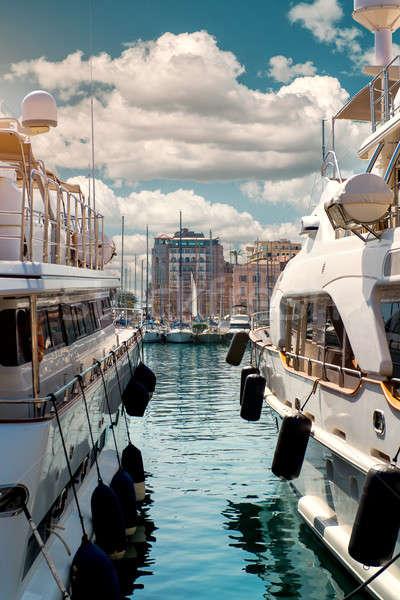 Luxus kikötő Franciaország égbolt nyár utazás Stock fotó © amok