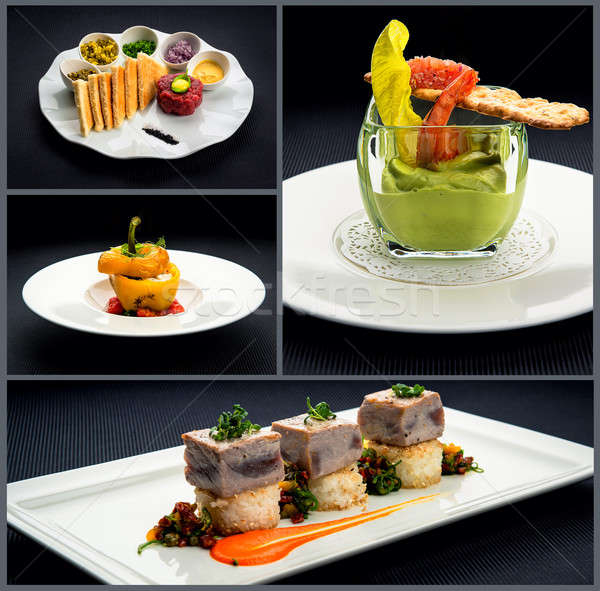 Collage of healthy starters and main courses Stock photo © amok