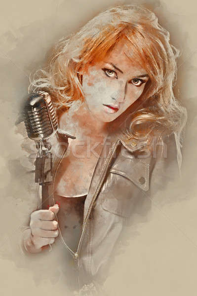 Digital watercolor painting of a beautiful woman with microphone Stock photo © amok