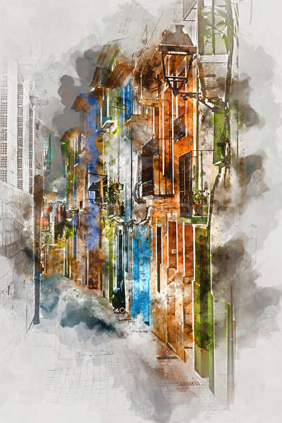 Digital watercolor painting of Villajoyosa town Stock photo © amok
