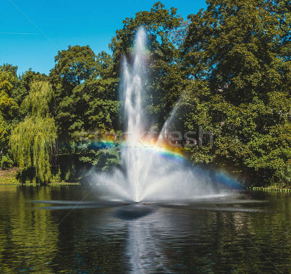 噴水 虹 リガ 運河 公園 ストックフォト © amok