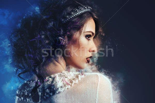 Profiel prachtig jonge dame afbeelding digitale Stockfoto © amok