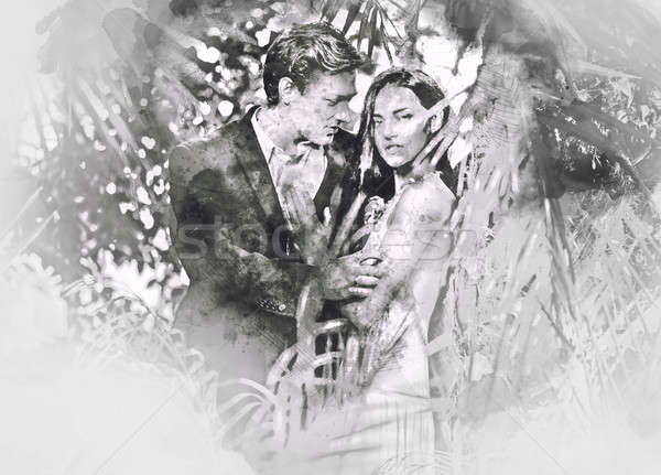Beautiful couple in love hugging. Digital watercolor painting. Black and white. Stock photo © amok