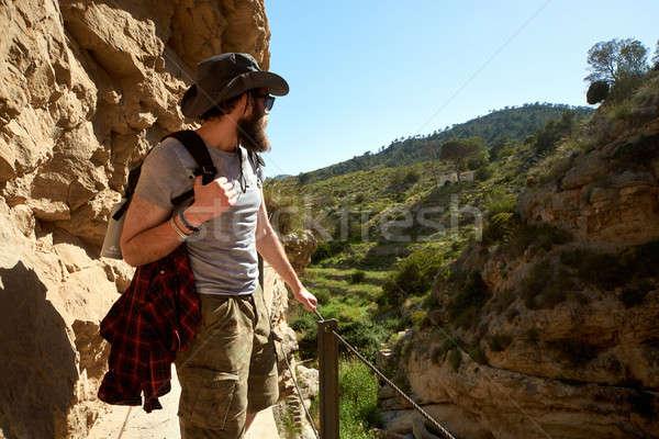 Homme voyageur marche bois passerelle montagnes Photo stock © amok