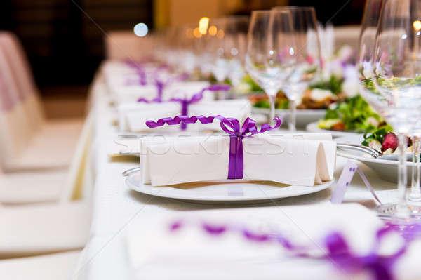 Bruiloft tabel decoraties partij eten lint Stockfoto © amok