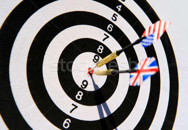Darts tábla kettő darts telitalálat szem bár Stock fotó © amok