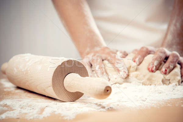 Woman kneading dough, close-up photo Stock photo © amok