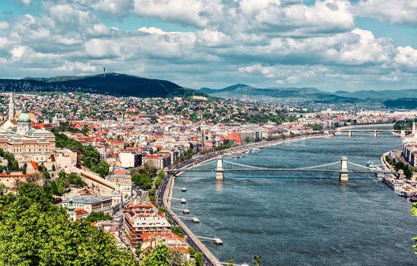 Budapest városkép Magyarország felhők természet hegy Stock fotó © amok