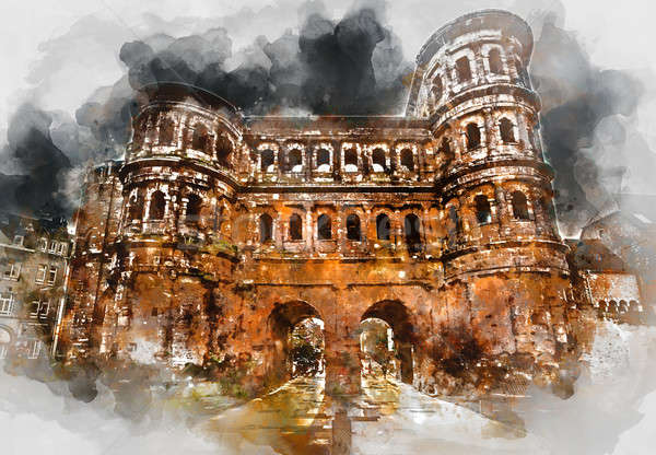 The Porta Nigra (Black Gate) in Trier city, Germany. It is a famous large Roman city gate Stock photo © amok