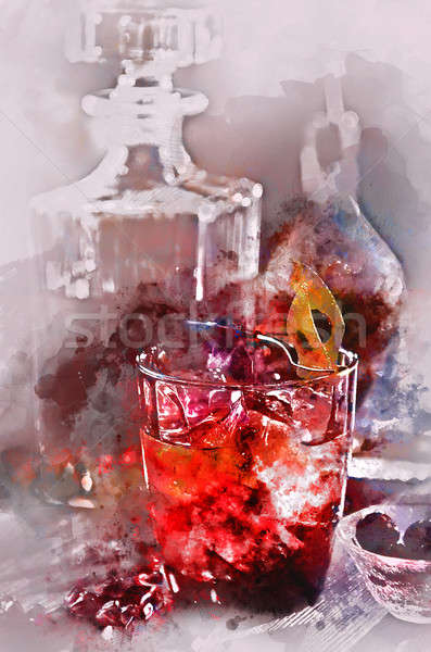 Digital watercolor painting of an alcoholic cocktail  Stock photo © amok