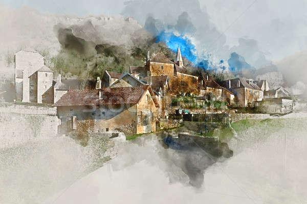 Digitális vízfesték festmény falu bizalmas egy Stock fotó © amok