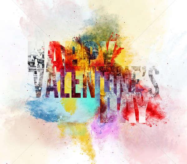 Gelukkig valentijnsdag wenskaart digitale illustratie heldere kleuren Stockfoto © amok