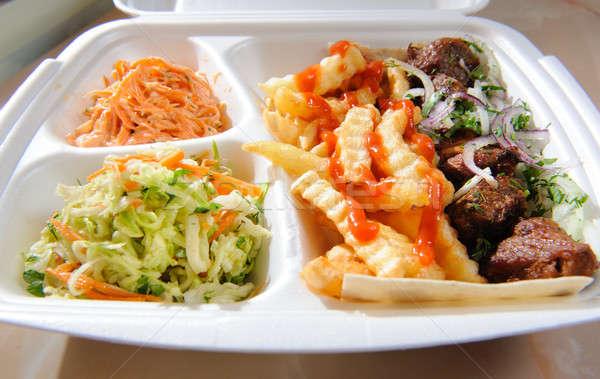 étel hab tálca vacsora hús sárgarépa Stock fotó © amok