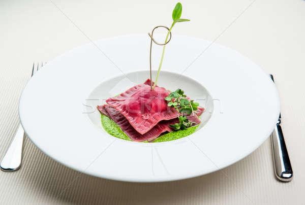 Ravioli ham zon gedroogd tomaten basilicum Stockfoto © amok