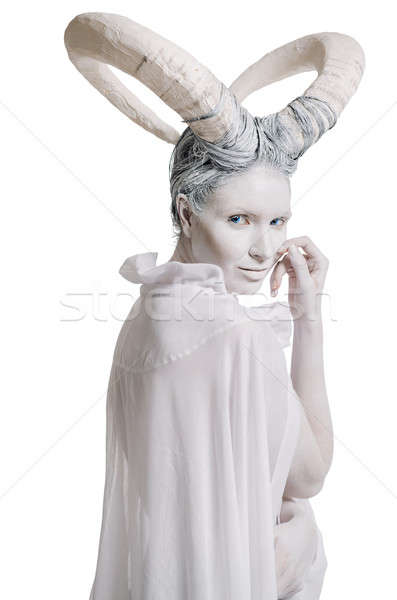 Woman with goat body-art isolated on white Stock photo © amok