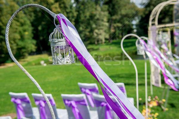 Esküvői ceremónia kint madárkalitka virág bent szalag Stock fotó © amok