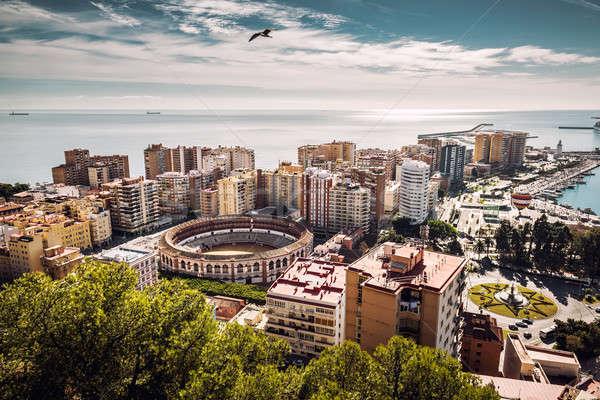Aerial view of Malaga bullring and harbor. Spain Stock photo © amok