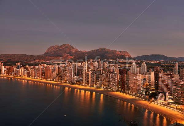 Napfelkelte város Spanyolország légifelvétel tengerpart modern Stock fotó © amok