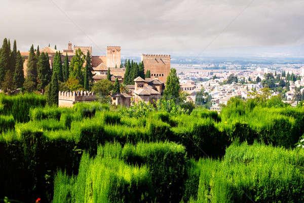 アルハンブラ宮殿 宮殿 表示 市 スペイン 庭園 ストックフォト © amok