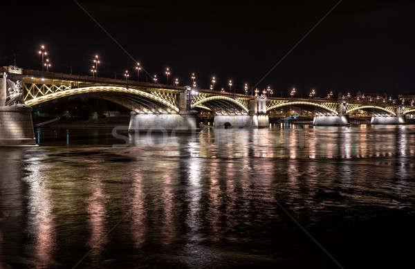 Ponte danúbio rio noite Budapeste Hungria Foto stock © amok