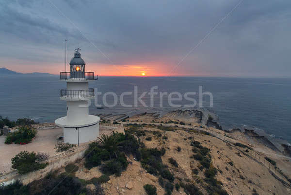 Lighthouse on a hilltop at sunrise. Alicante, Costa Blanca. Spain Stock photo © amok