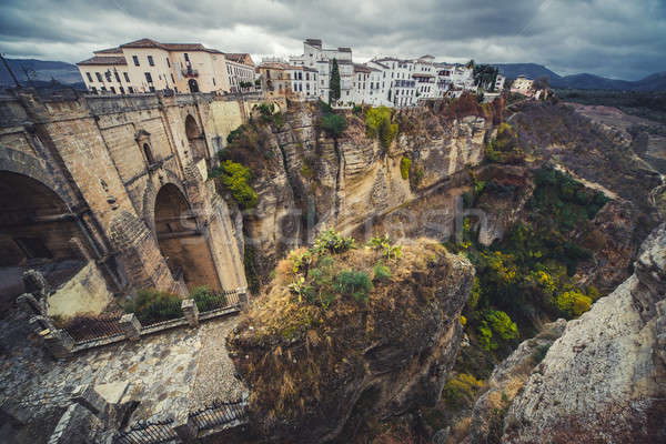 View of the old city of Ronda, the famous white village. Provinc Stock photo © amok