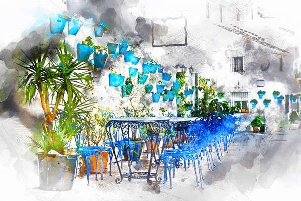 Digital watercolor painting of Mijas street. Spain Stock photo © amok