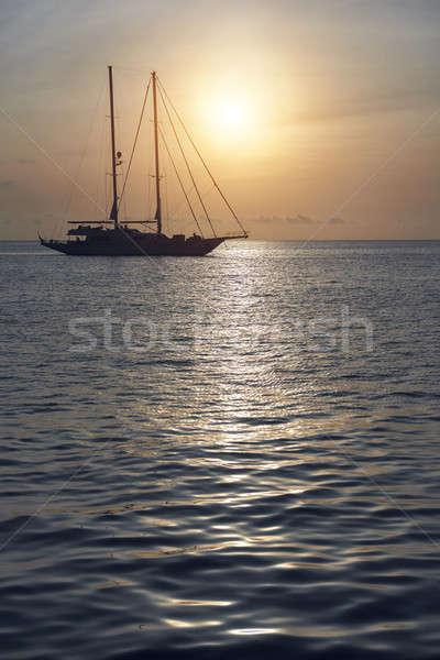 Yacht at Cala Saona in Formentera. Balearic Islands. Spain Stock photo © amok