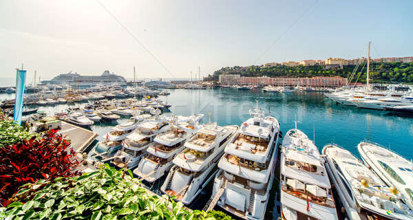 Panoramic view of port in Monaco, luxury yachts in a row Stock photo © amok